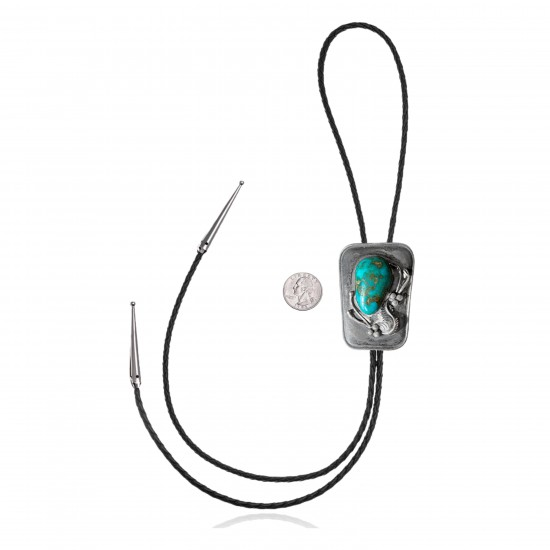 Feather .925 Sterling Silver Certified Authentic Handmade Navajo Native American Natural Turquoise Bolo Tie 34195