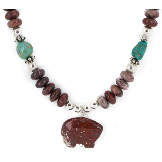 .925 Sterling Silver Certified Authentic Navajo Natural Turquoise Red Jasper Heishi Native American Necklace 750230-3 All Products NB160514223724 750230-3 (by LomaSiiva)