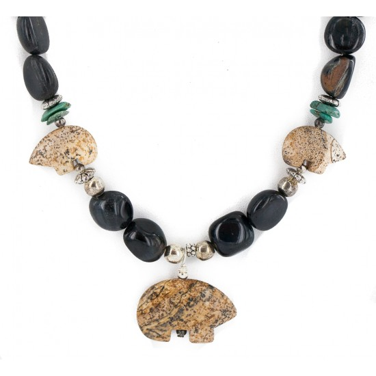 .925 Sterling Silver Certified Authentic Navajo Natural Turquoise Jasper Blue Tigers Eye Heishi Native American Necklace 750232-2 All Products NB160514230710 750232-2 (by LomaSiiva)