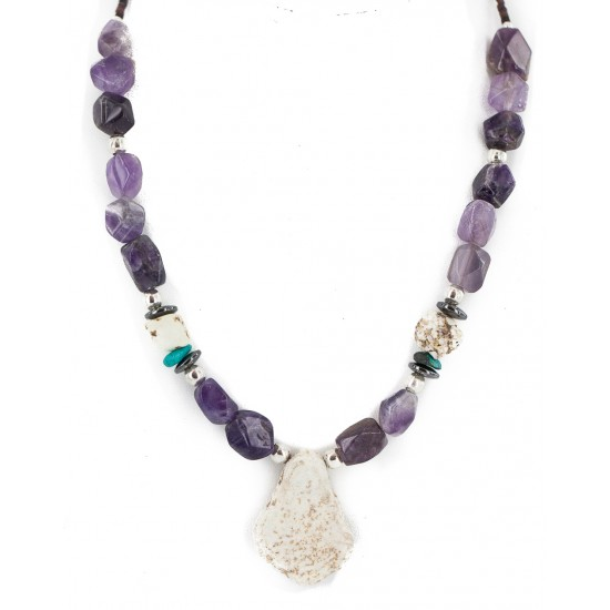 .925 Sterling Silver Certified Authentic Navajo White Howlite Amethyst Hematite Native American Necklace 750232-3 All Products NB160514231652 750232-3 (by LomaSiiva)