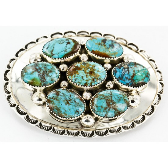 Certified Authentic Nuggets Navajo .925 Sterling Silver Natural Turquoise Native American Buckle 10527-2 All Products 371442898209 10527-2 (by LomaSiiva)