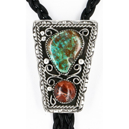 Handmade Certified Authentic Navajo .925 Sterling Silver Natural Turquoise Jasper Native American Bolo Tie  24390-2 All Products 371442903688 24390-2 (by LomaSiiva)