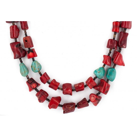 2 Strand Certified Authentic Navajo .925 Sterling Silver Natural Turquoise Coral Heishi Native American Necklace  750236-2 All Products NB160520191604 750236-2 (by LomaSiiva)