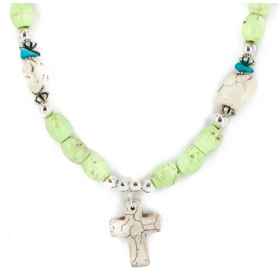 Cross .925 Sterling Silver Certified Authentic Navajo White Howlite Gaspeite Native American Necklace 750237-9 All Products NB160520193632 750237-9 (by LomaSiiva)