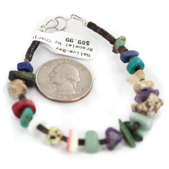 .925 Sterling Silver Navajo Certified Authentic Natural Turquoise Multicolor Stones Heishi Native American Bracelet 13178-3 All Products NB160521202601 13178-3 (by LomaSiiva)