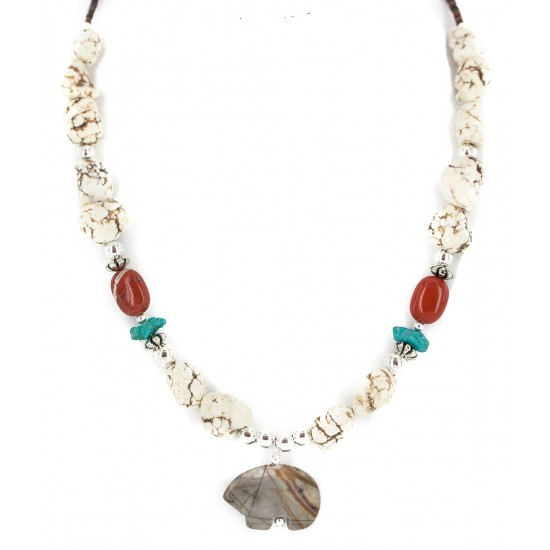 .925 Sterling Silver Certified Authentic Navajo White Howlite Jasper Native American Necklace 750240-4 Clearance NB160520174805 750240-4 (by LomaSiiva)
