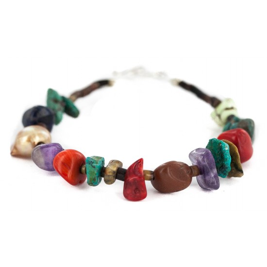 .925 Sterling Silver Navajo Certified Authentic Natural Turquoise Multicolor Stones Native American Bracelet 13178-2 All Products NB160521201206 13178-2 (by LomaSiiva)