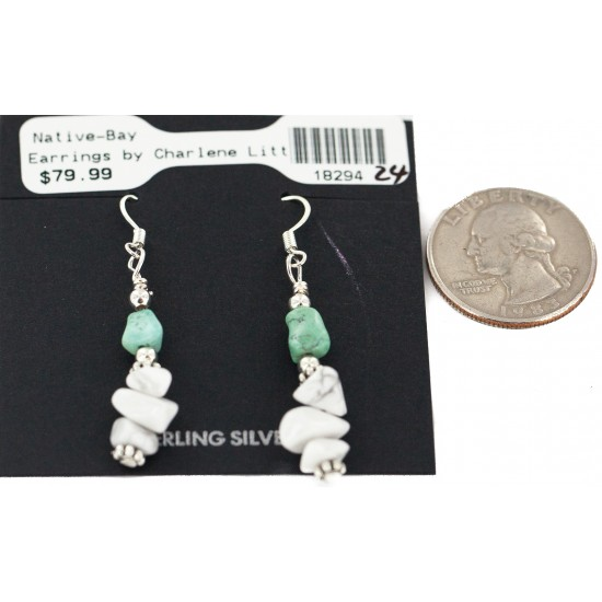.925 Sterling Silver Hooks Navajo Certified Authentic White Howlite Native American Dangle Earrings 18294-24 All Products NB160528033314 18294-24 (by LomaSiiva)