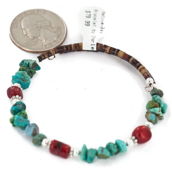 Navajo Certified Authentic Natural Turquoise Coral Heishi Native American Adjustable Wrap Bracelet 18295 All Products NB160528001736 18295 (by LomaSiiva)