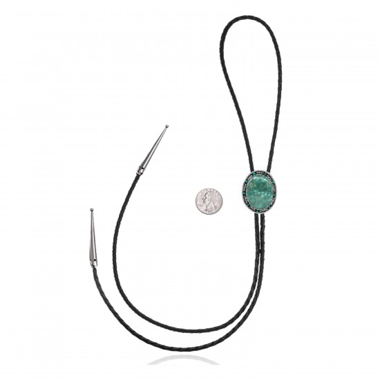 Handmade Certified Authentic Navajo .925 Sterling Silver Native American Natural Turquoise Bolo Tie 34269