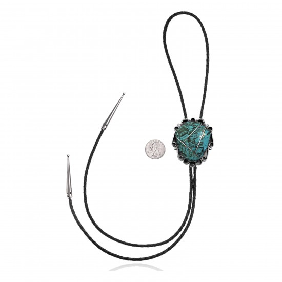 Handmade Certified Authentic Navajo .925 Sterling Silver Native American Natural Turquoise Bolo Tie 34275
