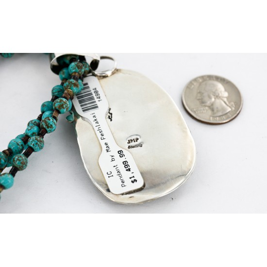 .925 Sterling Silver Handmade Certified Authentic Navajo Natural Turquoise Coral Native American Necklace 14984-15777 All Products 14984-15777 14984-15777 (by LomaSiiva)