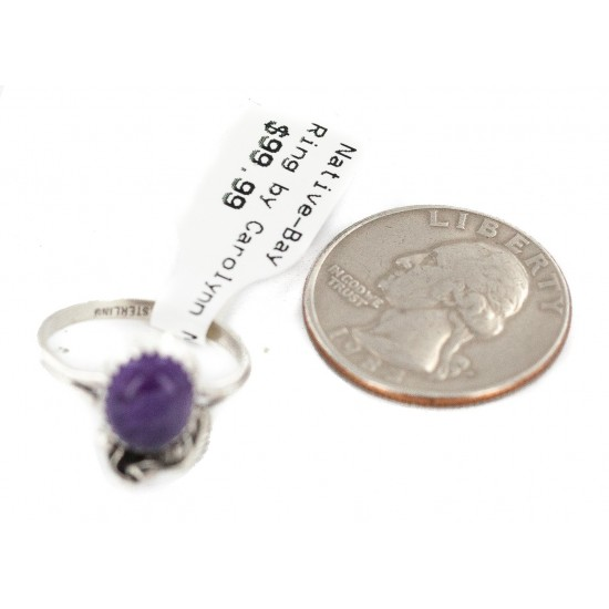 Handmade Certified Authentic Navajo .925 Sterling Silver Natural Amethyst Native American Ring 26212-3 All Products NB160603175523 26212-3 (by LomaSiiva)