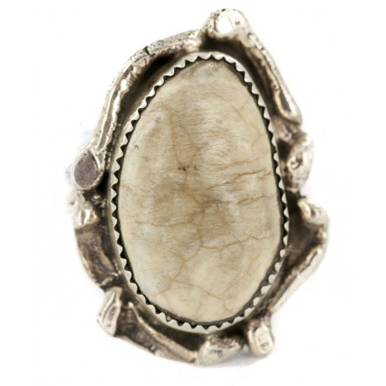 Handmade Navajo Certified Authentic .925 Sterling Silver Natural White Buffalo Native American Ring 18297-1 All Products NB160603184649 18297-1 (by LomaSiiva)