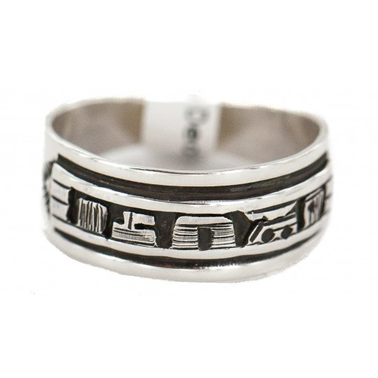 .925 Sterling Silver Certified Authentic Hopi Story Teller Native American Ring Size 10 18310-1 All Products NB160603004858 18310-1 (by LomaSiiva)
