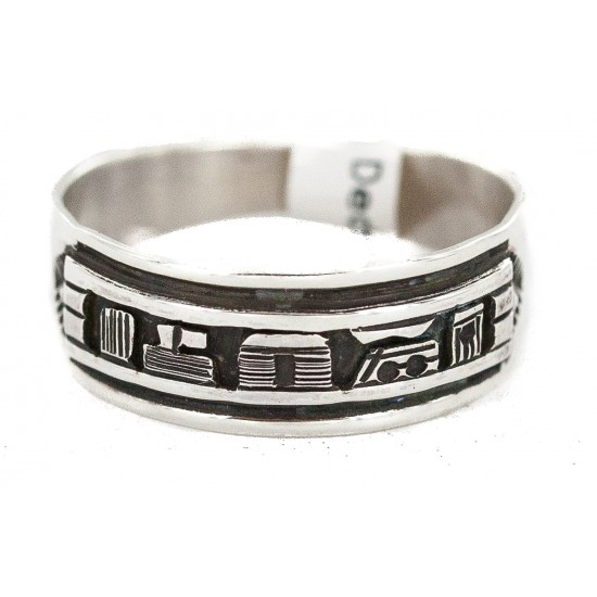 .925 Sterling Silver Certified Authentic Hopi Story Teller Native American Ring Size 13 18306-1 All Products NB160603012233 18306-1 (by LomaSiiva)