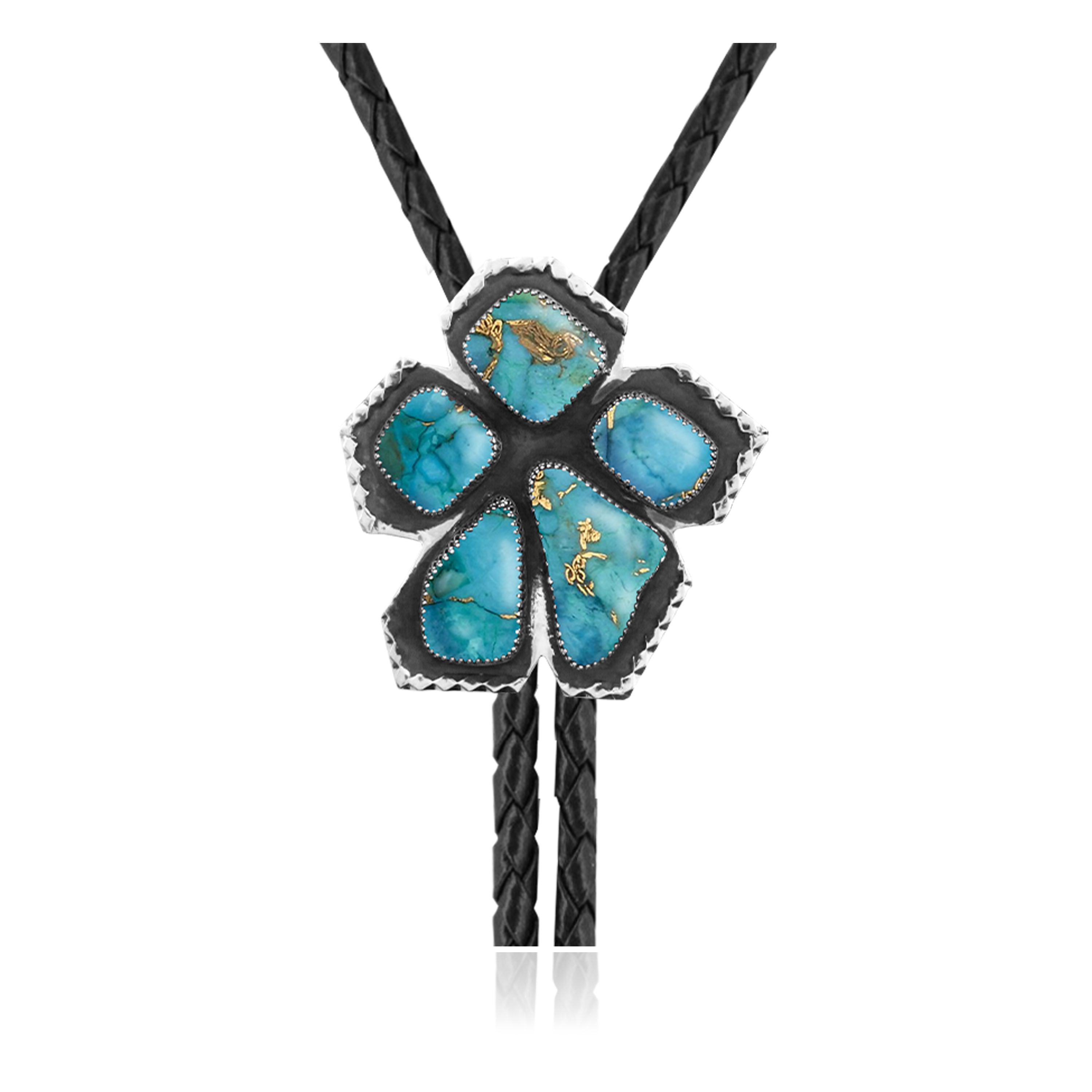 Flower .925 Sterling Silver Certified Authentic Handmade Navajo Native American Natural Turquoise Bolo Tie 34356