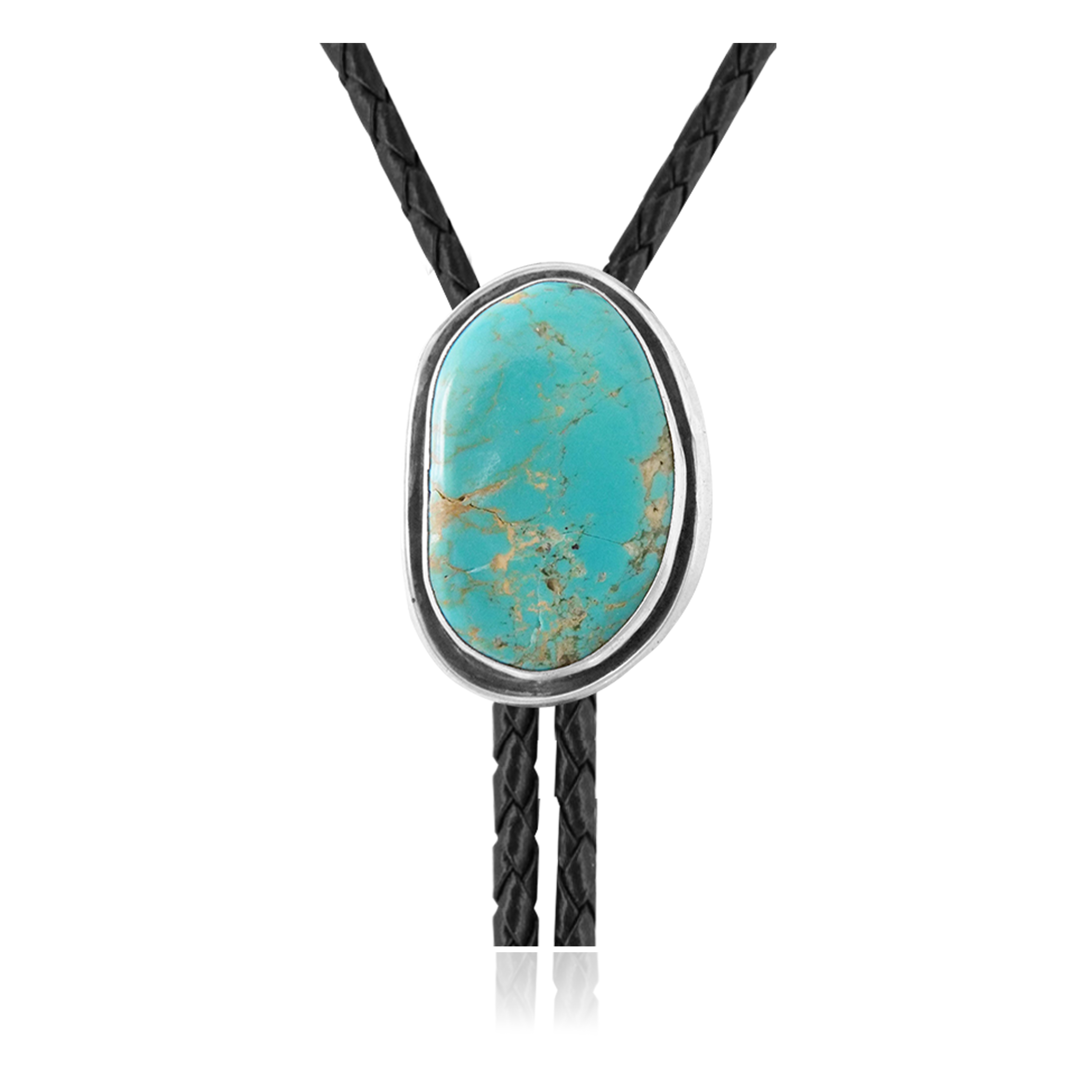 Handmade Certified Authentic Navajo .925 Sterling Silver Native American Natural Turquoise Bolo Tie 34377