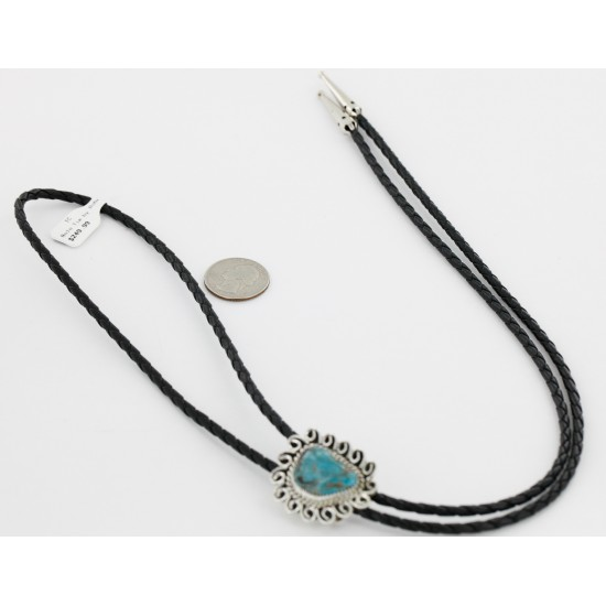 Handmade Certified Authentic Navajo .925 Sterling Silver Natural Turquoise Native American Bolo Tie  24406-3 All Products 24406-3 24406-3 (by LomaSiiva)