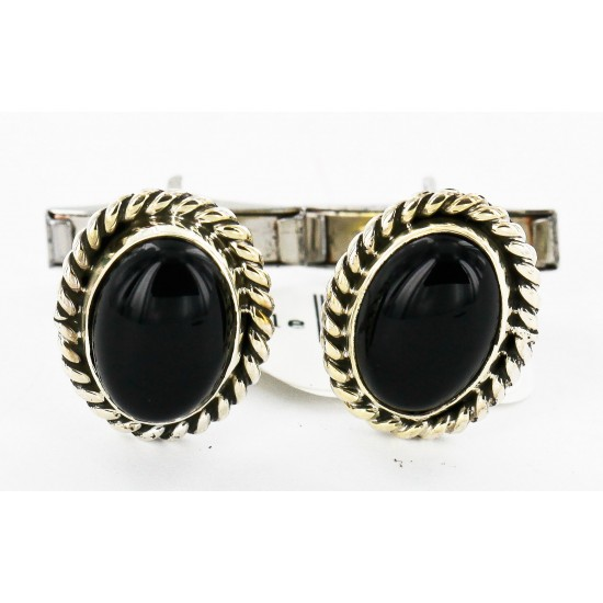 Handmade Certified Authentic Navajo .925 Sterling Silver Natural Black Onyx Native American Cuff Links 19109-4 Cufflinks 19109-4 19109-4 (by LomaSiiva)