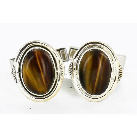 Handmade Certified Authentic Navajo .925 Sterling Silver Natural Tigers Eye Native American Cuff Links 19109-2 Cufflinks 19109-2 19109-2 (by LomaSiiva)