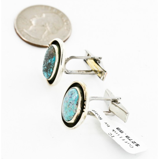 Handmade Certified Authentic Navajo .925 Sterling Silver Natural Turquoise Native American Cuff Links 19110-2 Cufflinks 19110-2 19110-2 (by LomaSiiva)