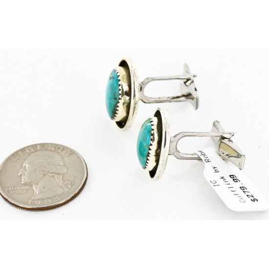 Handmade Certified Authentic Navajo .925 Sterling Silver Natural Turquoise Native American Cuff Links 19110-3 Cufflinks 19110-3 19110-3 (by LomaSiiva)
