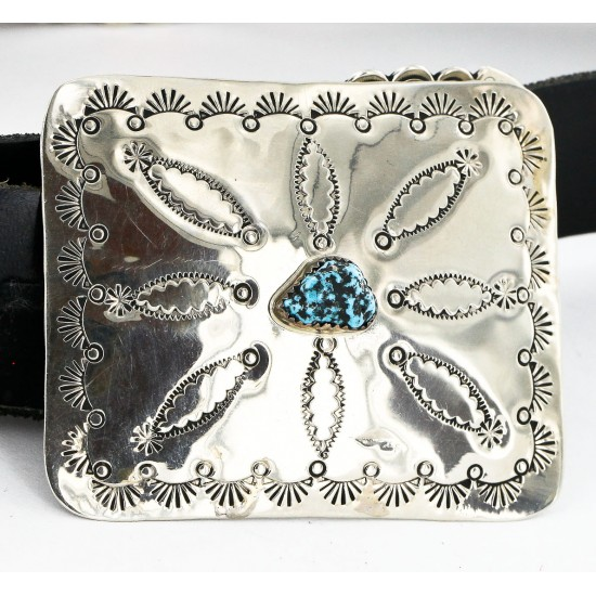 Certified Authentic Navajo Nickel Copper Natural Turquoise Concho Belt 19157 All Products 19157 19157 (by LomaSiiva)