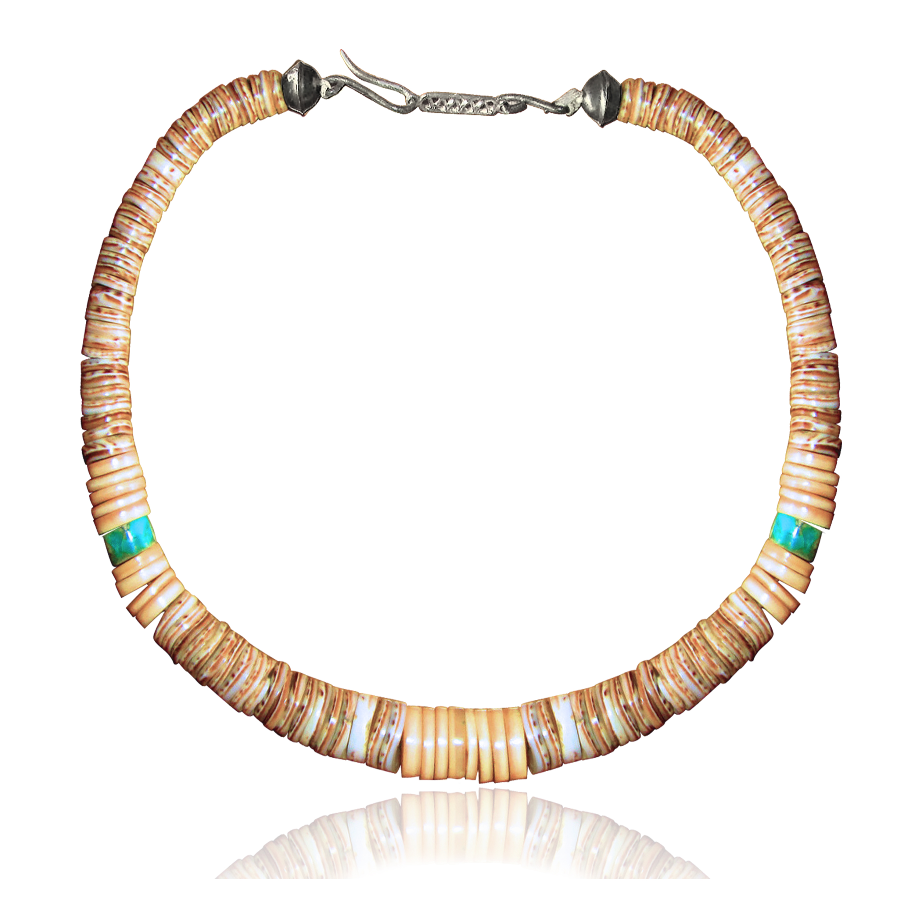 .925 Sterling Silver Certified Authentic Navajo Native American 1 strand Natural Turquoise Graduated Melon Shell Necklace 35118