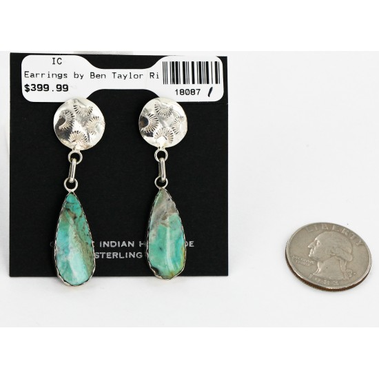 Certified Authentic Handmade Navajo .925 Sterling Silver Dangle Native American Earrings Natural Turquoise 18087-1-2 All Products 18087-1-2 18087-1-2 (by LomaSiiva)