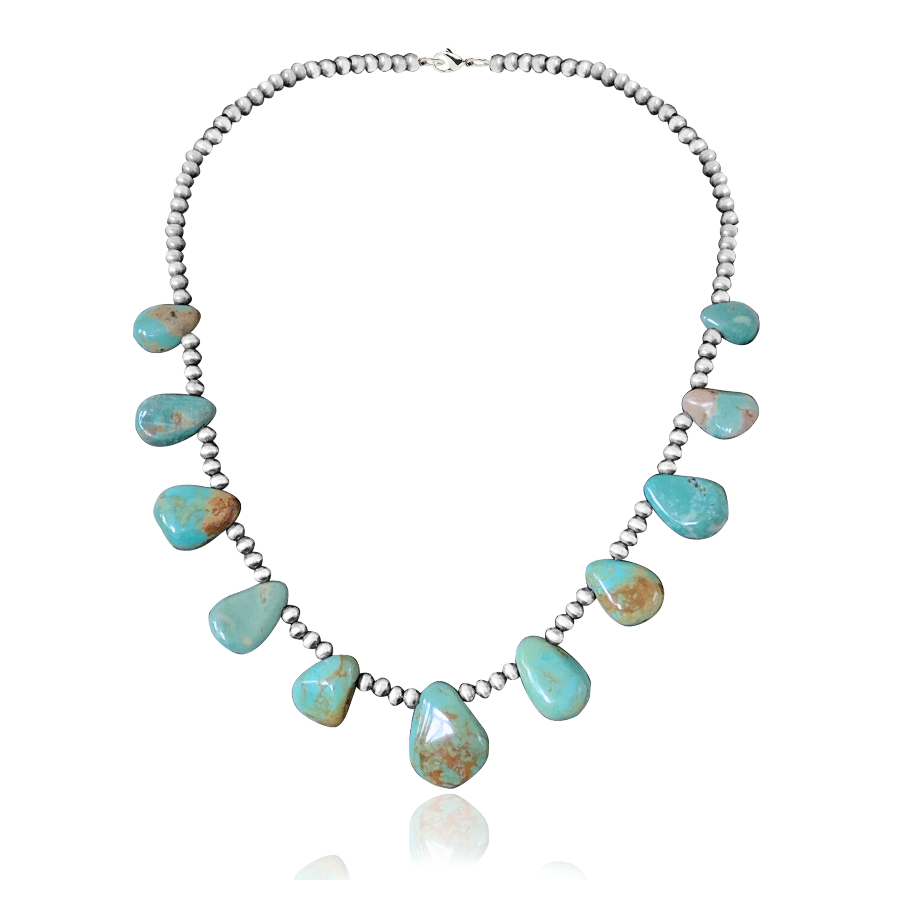 .925 Sterling Silver Certified Authentic Navajo Native American Natural Turquoise Necklace 35154