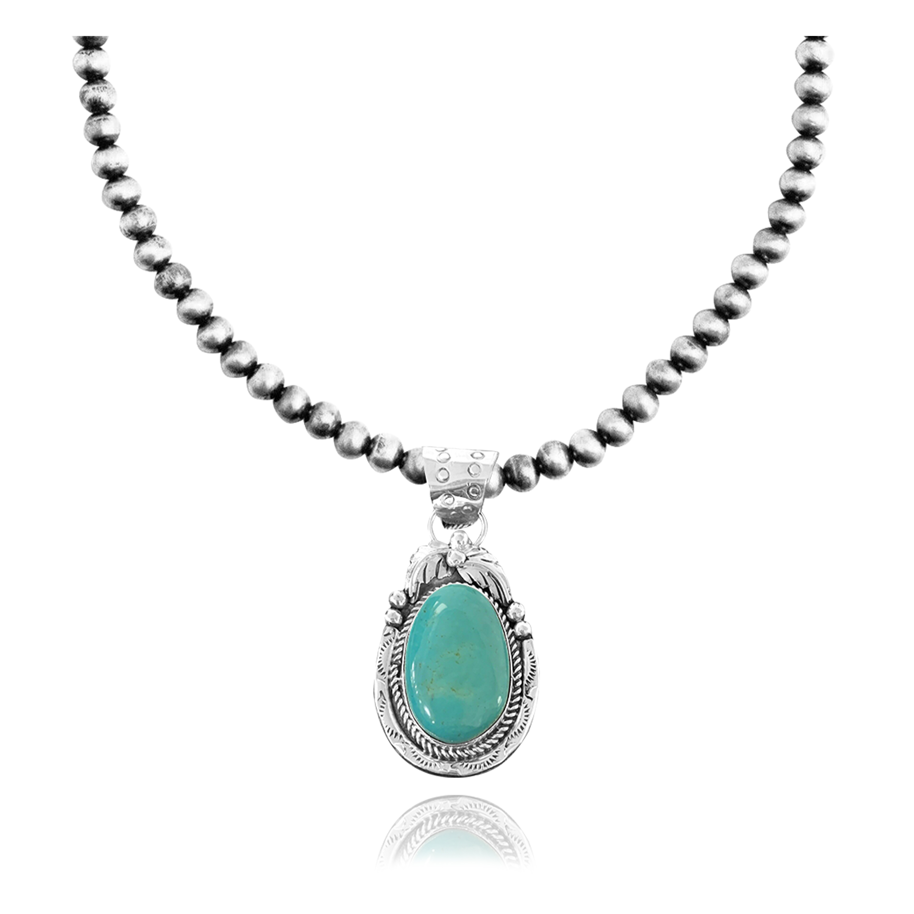 Leaf .925 Sterling Silver Certified Authentic Navajo Native American Natural Turquoise Necklace & Pendant 35174