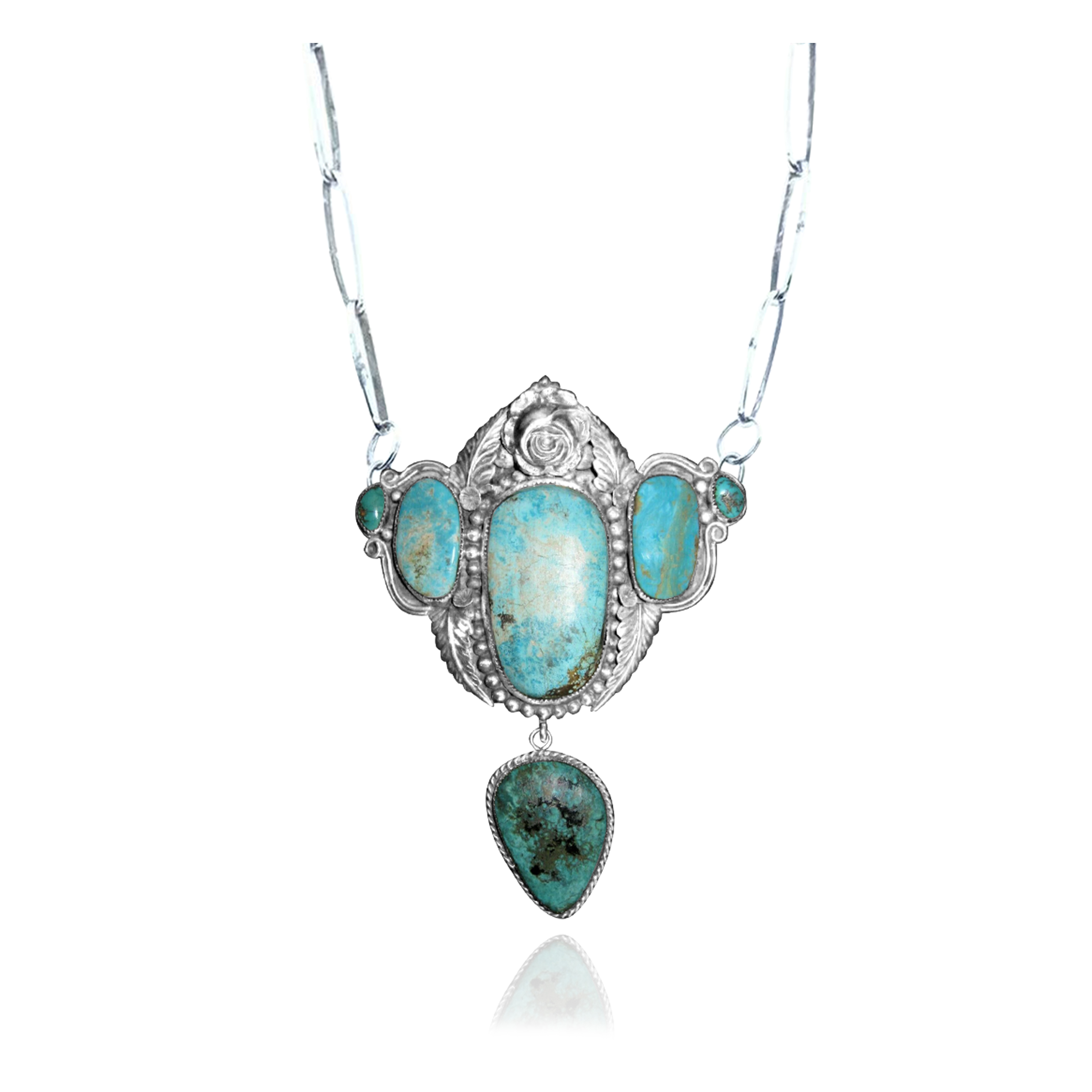 Flower Leaf .925 Sterling Silver Certified Authentic Navajo Native American Natural Turquoise Necklace 35175
