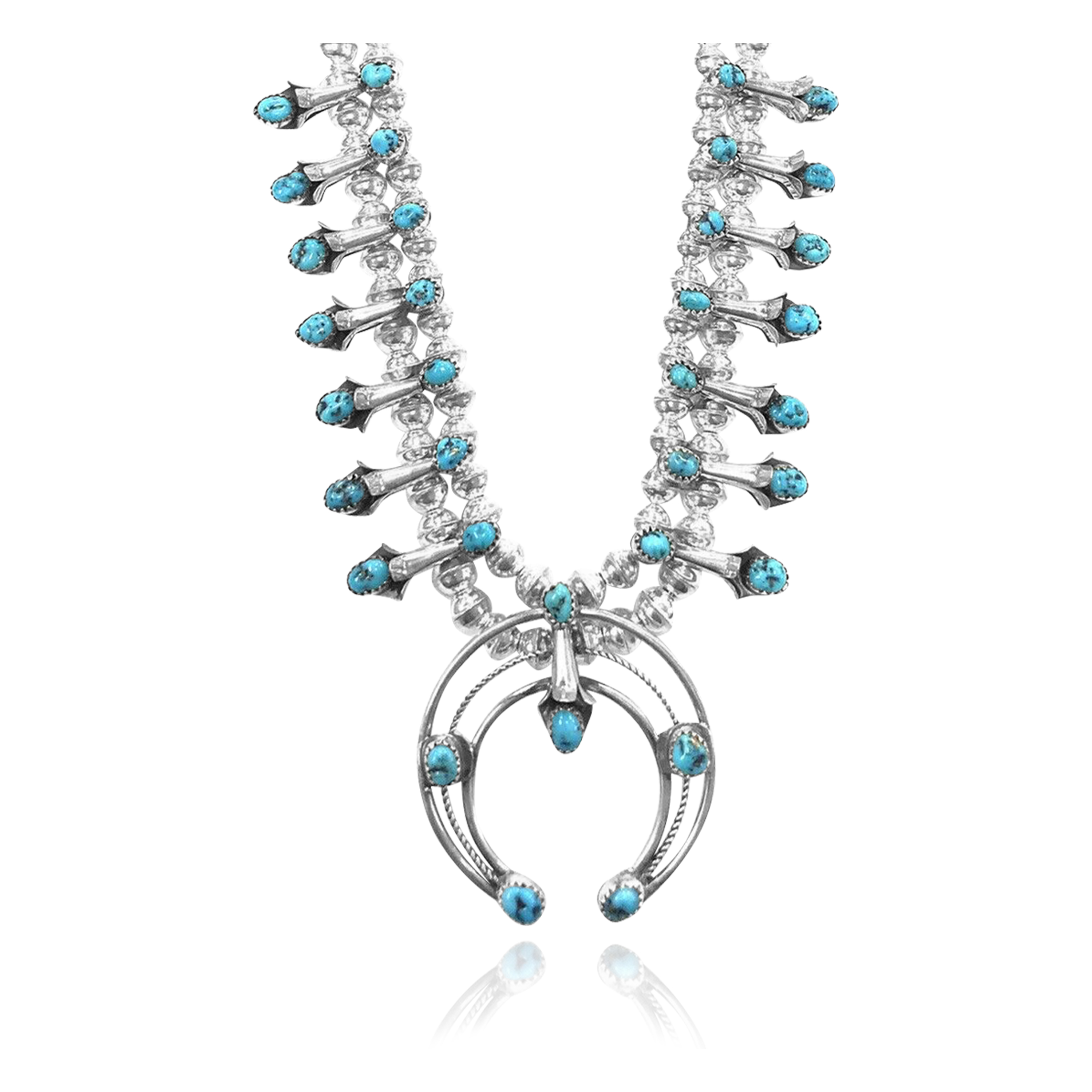 Squash Blossom .925 Sterling Silver Certified Authentic Navajo Native American Natural Turquoise Necklace 35176