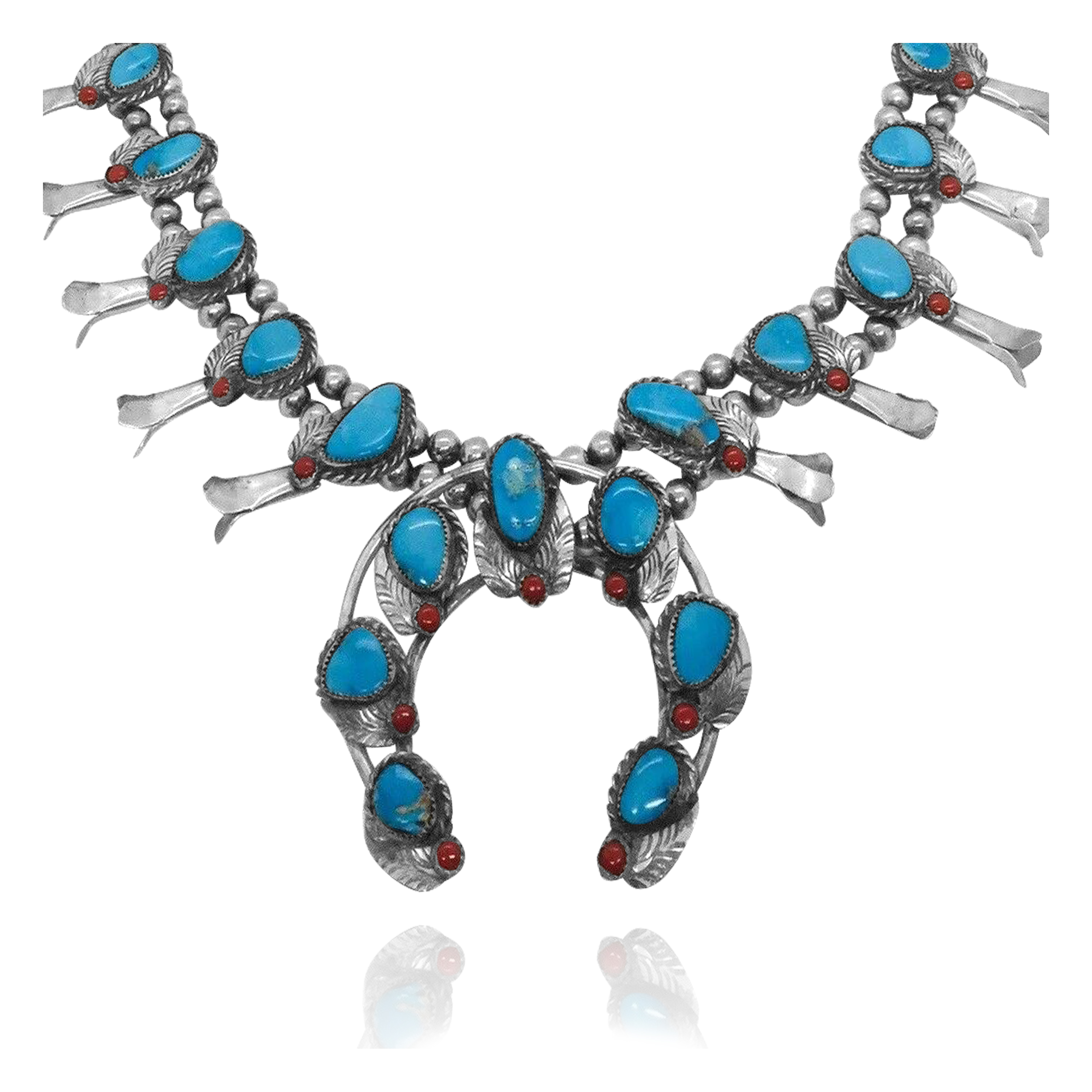 Squash Blossom .925 Sterling Silver Certified Authentic Navajo Native American Natural Turquoise Necklace 35177