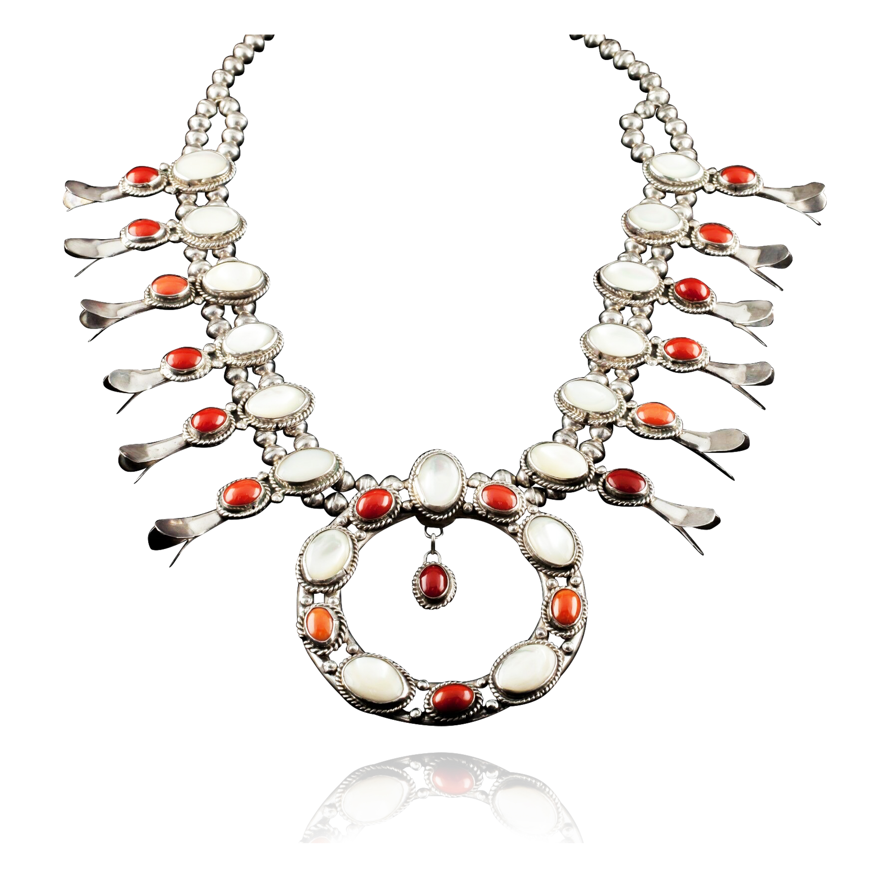 Squash Blossom .925 Sterling Silver Certified Authentic Navajo Native American Coral Necklace 35187