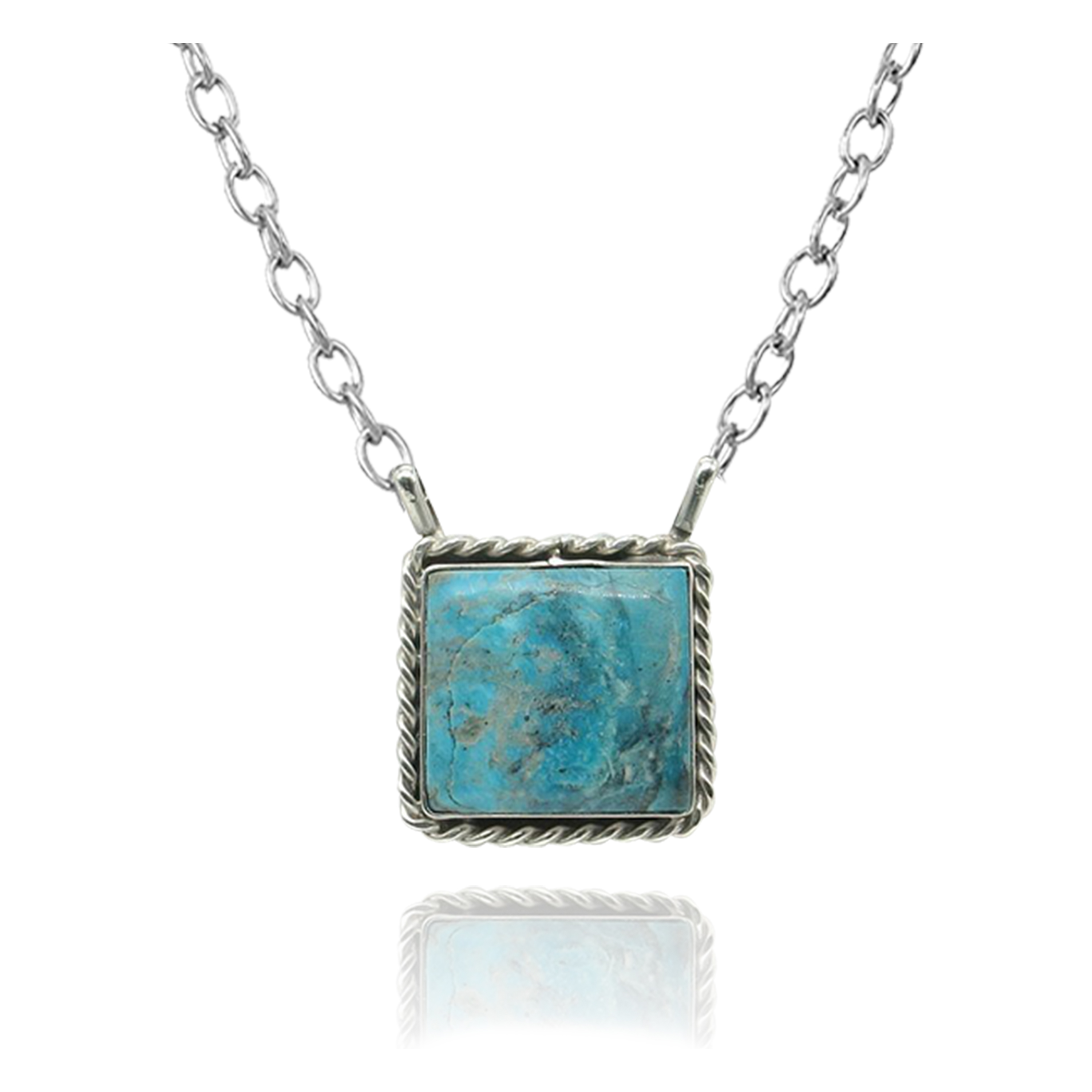 Delicate .925 Sterling Silver Certified Authentic Navajo Native American Natural Turquoise Necklace Pendant 35191