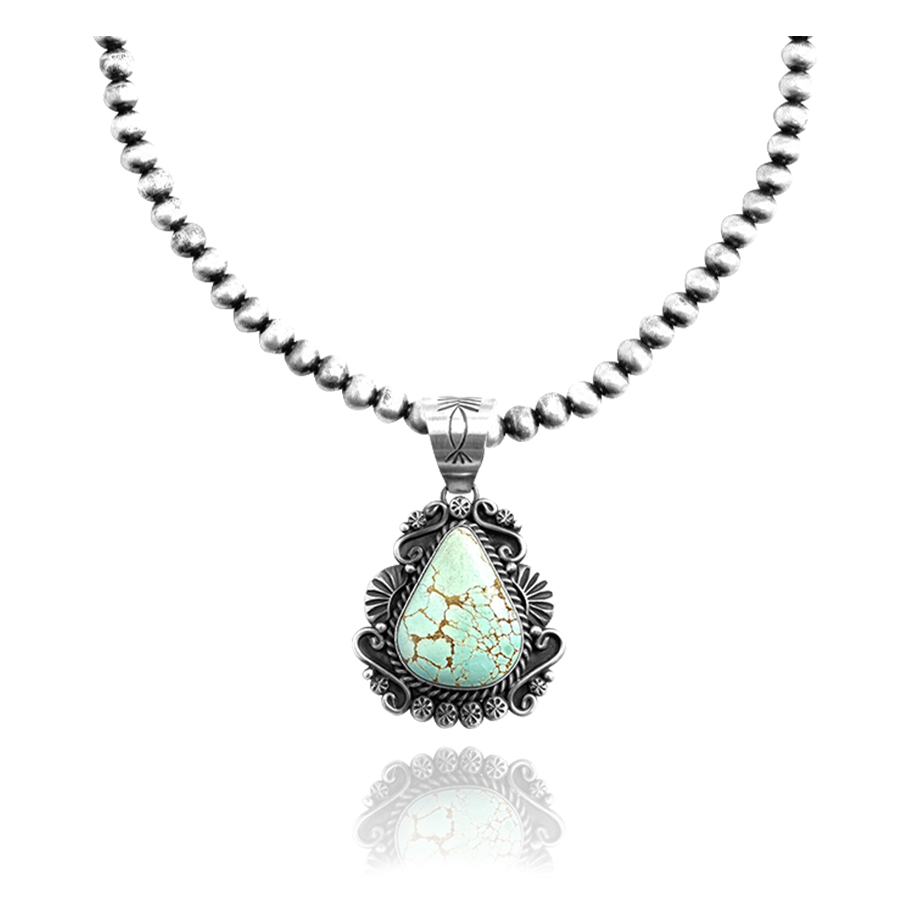 .925 Sterling Silver Certified Authentic Navajo Native American Natural Turquoise Necklace Pendant 35193