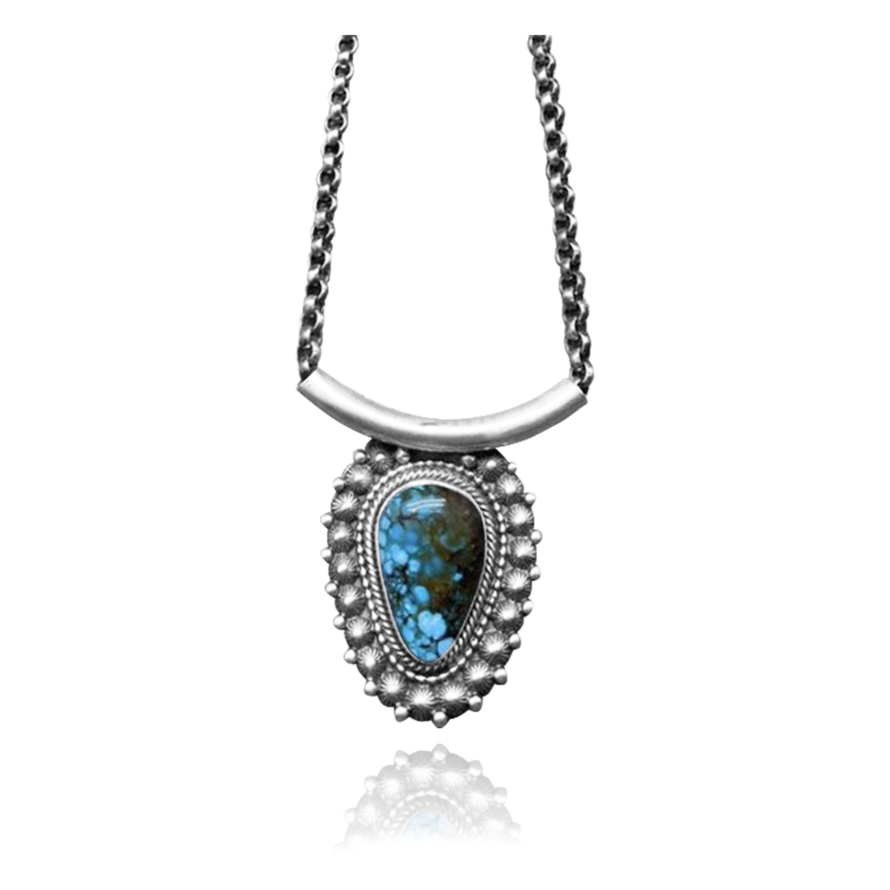 Sun .925 Sterling Silver Certified Authentic Navajo Native American Natural Turquoise Necklace 35196