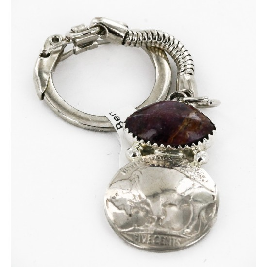 Vintage Style OLD Buffalo Coin Certified Authentic Navajo .925 Sterling Silver Natural Purple Spiny Oyster Native American Keychain 10336-5 All Products 10336-5 10336-5 (by LomaSiiva)