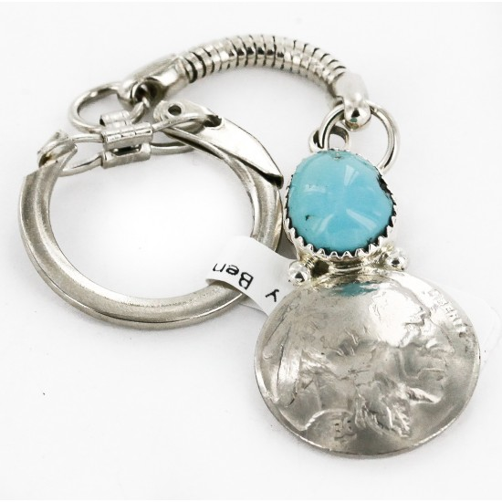 Vintage Style OLD Buffalo Coin Certified Authentic Navajo .925 Sterling Silver Natural Turquoise Native American Keychain 10336-3 All Products 10336-3 10336-3 (by LomaSiiva)