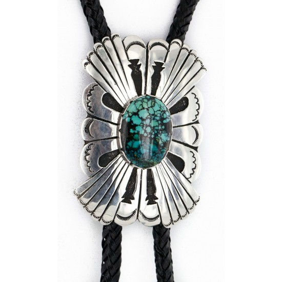 Large Handmade Certified Authentic Leather Navajo .925 Sterling Silver Natural Turquoise Native American Bolo Tie  24416 All Products 24416 24416 (by LomaSiiva)