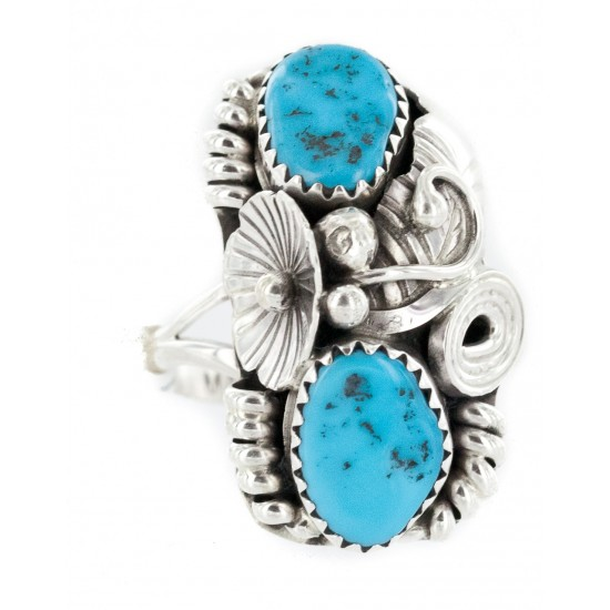 Handmade Certified Authentic Navajo .925 Sterling Silver Natural Turquoise Native American Ring Size 8 1/2 26208 All Products NB160121214742 26208 (by LomaSiiva)