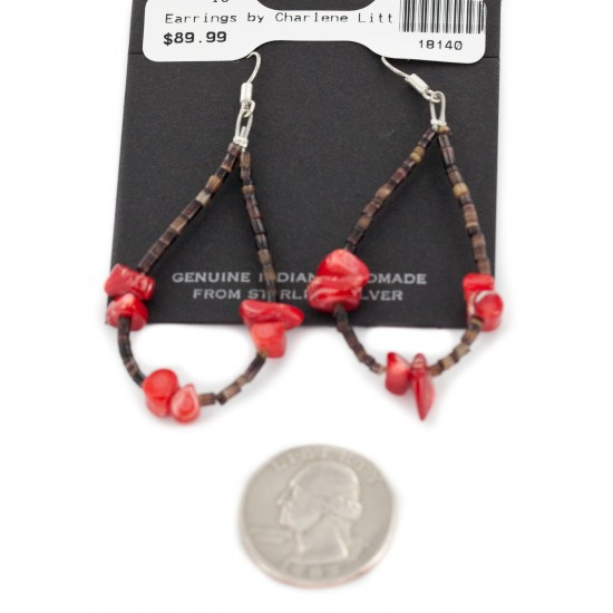 Certified Authentic .925 Sterling Silver Hooks Dangle Natural Heishi Coral Hoop Native American Earrings 18140 All Products NB160117002559 18140 (by LomaSiiva)