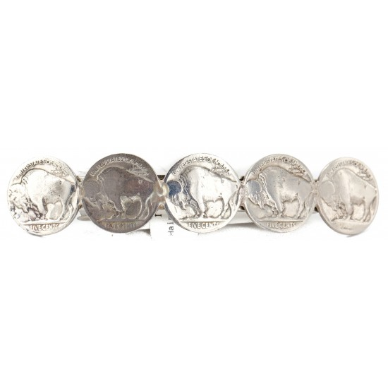 Vintage Style Buffalo Nickel Handmade Certified Authentic Navajo Nickel Native American Hair Barrettes 10322-00 All Products NB151120043916 10322-00 (by LomaSiiva)