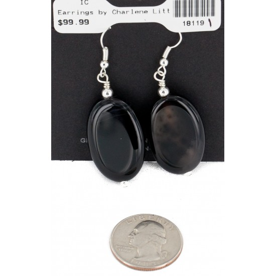 Certified Authentic Navajo .925 Sterling Silver Hooks Dangle Natural Black Onyx Native American Earrings 18119-1 All Products NB151211011740 18119-1 (by LomaSiiva)
