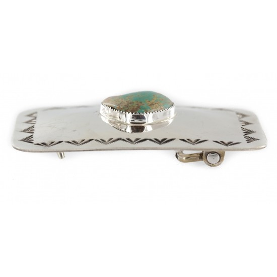 Handmade Certified Authentic Navajo Nickel Natural Turquoise Native American Buckle 1207-2 All Products NB151215043008 1207-2 (by LomaSiiva)