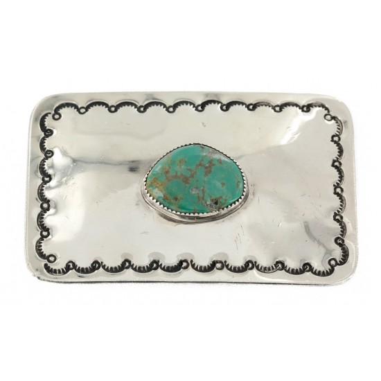 Certified Authentic Handmade Nickel Navajo Natural Turquoise Native American Buckle 1207-11 All Products NB151215041922 1207-11 (by LomaSiiva)