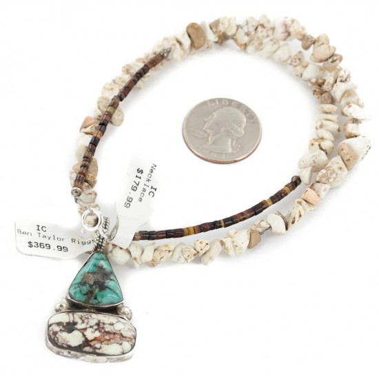 .925 Sterling Silver Certified Authentic Navajo Natural White Buffalo Native American Necklace 34032-6-15222 All Products NB160109023616 34032-6-15222 (by LomaSiiva)
