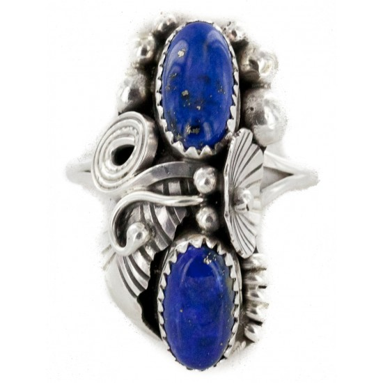 Handmade Certified Authentic Navajo .925 Sterling Silver Natural Lapis Lazuli Native American Ring Size 7 26206-3 All Products NB151223223741-3 26206-3 (by LomaSiiva)